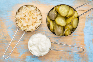 Sauerkraut, pickles, yogurt - fermented food