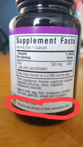 zinc supplement label