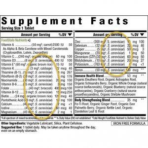 multivitamin with yeast-grown vitamins & minerals